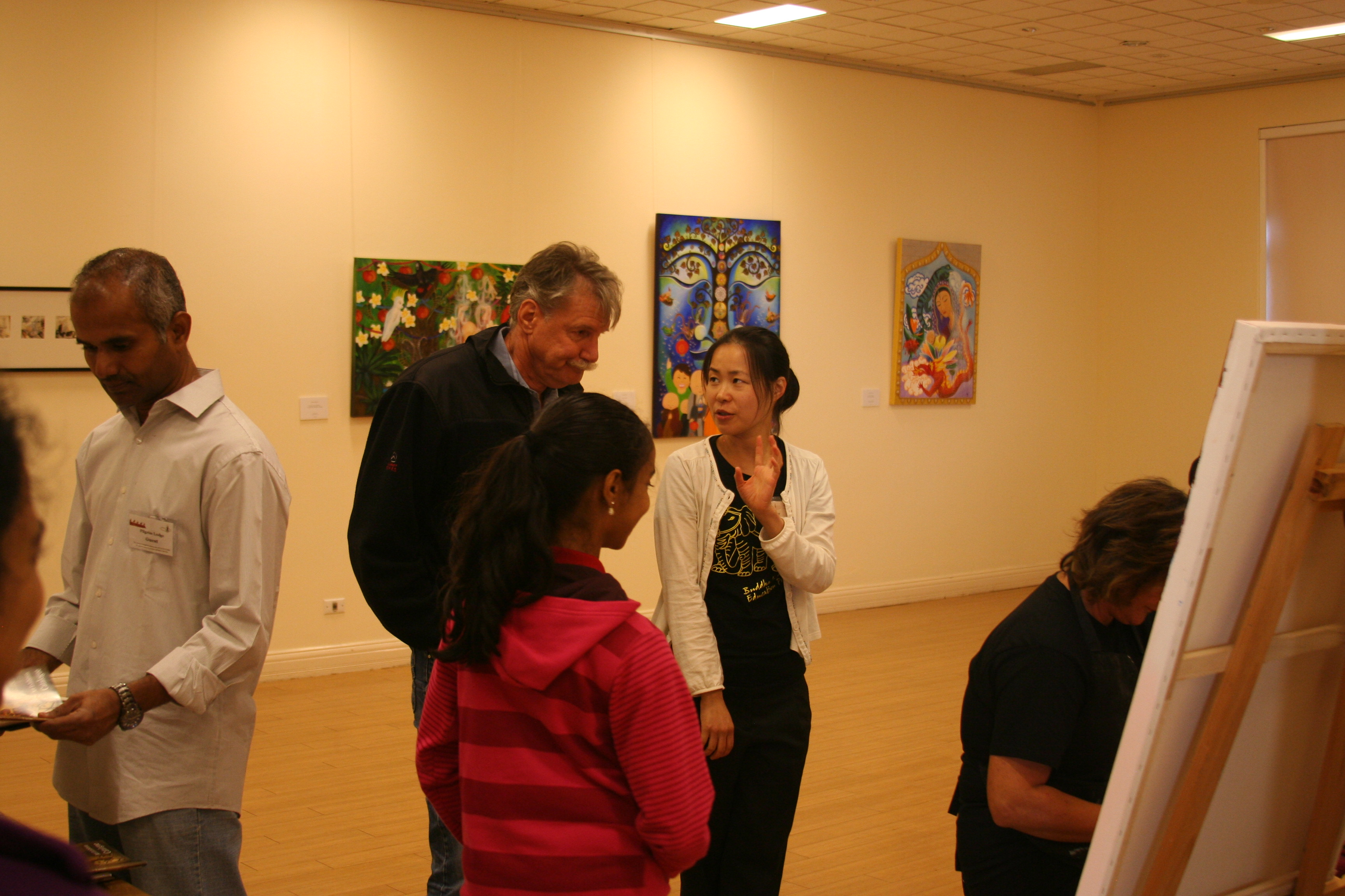 2013 BBEP Art Exhibition Opening Wanda Grein Painting in action 03
