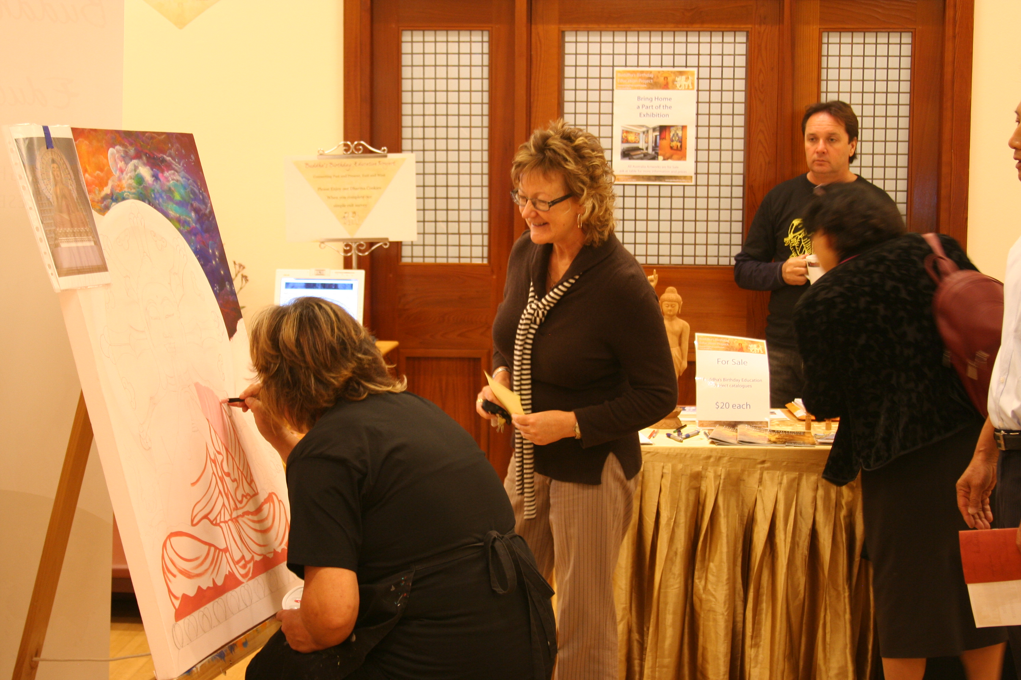 2013 BBEP Art Exhibition Opening Wanda Grein Painting in action 04